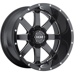 22x12 Black Gear Alloy Big Block 726B Wheels 6x135 6x5 5 44 Lifted Hummer H3