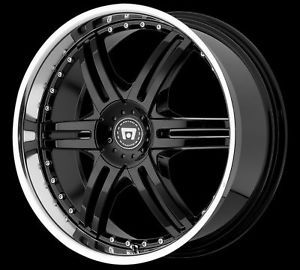 "20"" x 8 5"" Motegi Racing MR056 056 Black with Machined Lip Wheels Rims 5 Lug"