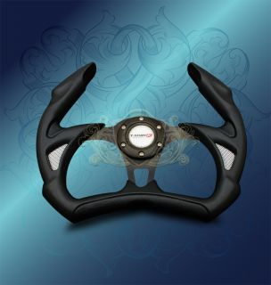 350mm Universal PVC JDM Black F 1 Jet Style Racing Steering Wheel