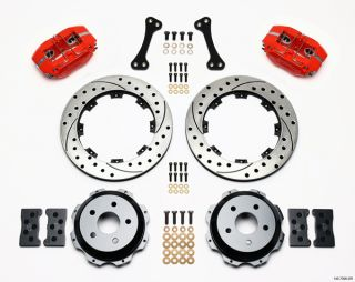 "Wilwood Disc Brake Kit Subaru Saab WRX etc 13"" 12"" Drilled Rotors Red Calipers"