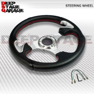 Universal 6 Bolt Aluminum Frame 32cm Racing Steering Wheel Black w Silver Accent
