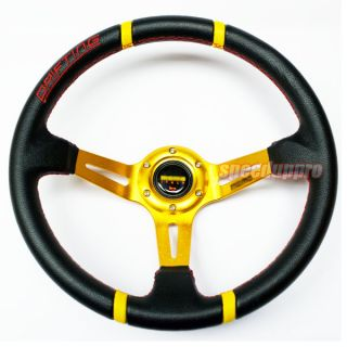 "350mm Drifting PVC Leather Deep Dish Steering Wheel 14"" Black Gold Red Stitch"