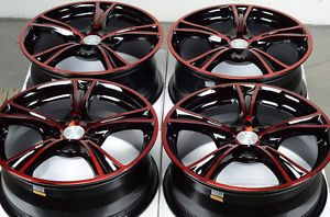 17 4x114 3 4x100 Wheels Red Accent Elantra Miata Sentra Nissan Altima 4 Lug Rims