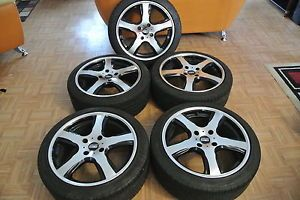 Nissan Sport Tuning T5 Machined w Black Accent Wheels Tires Set of 5 Nice
