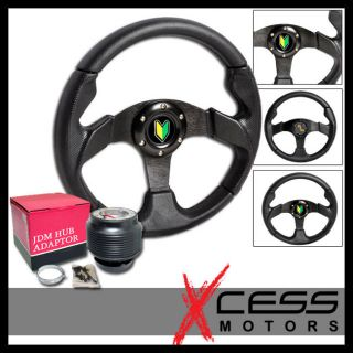 Honda and Acura 280mm All Black PVC Leather Racing Steering Wheel Hub