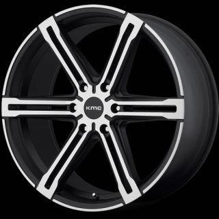 20x9 Machined Black KMC KM686 Faction Wheels 6x5 5 35 GMC Sierra Denali 1500