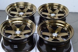 15x8 4x100 Bronze Rims Integra Civic Escort Jetta Miata Low Offset Cabrio Wheels