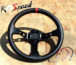 "Black 320mm 32cm 6 Hole Bolt Universal 3"" Deep Dish Drift Racing Steering Wheel"