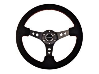 NRG Deep Dish Sport Steering Wheel 350mm Black Suede with Red Stitch St 006s