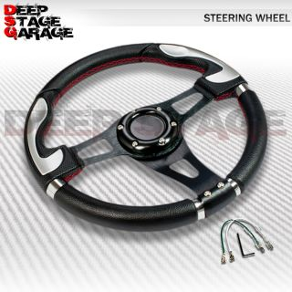 Universal Aluminum Frame 6 Bolt 32cm Racing Steering Wheel Black w Silver Accent
