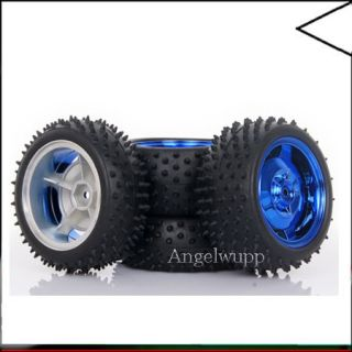 Set 1 10 RC Car Off Road Front and Rear Wheel Rim Tyre Tires Blue 7009 7005