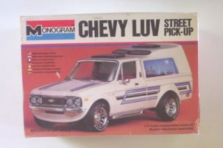 Chevy Luv Pickup w camper Topper 2251 Monogram 1 24 Model Truck Vtg 70s Custom