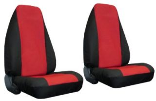 Red Black Faux Leather High Back 4 Piece Car Truck SUV Seat Cover Package X