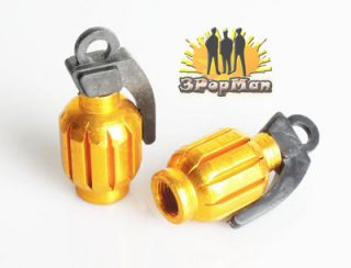 Grenade Style Golden Motorcycle ATV Wheel Tire Valve Caps Stem Rim Decoration