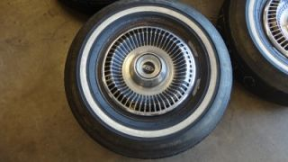 "RARE Vintage 15"" 1965 Buick Riviera Wheels Rims Hubcaps White Wall Tires"