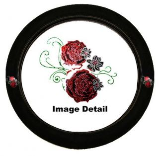Red Roses w Small White Roses Crystal Studded Rhinestone Steering Wheel Cover
