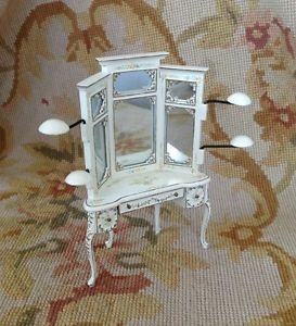 Bespaq White Hand Painted Mirrored Hat Vanity Table 1905 Dollhouse Miniatures