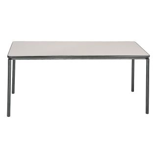 Bridgeport Premium Commercial Table 72 x 30 Rectangular Off White TopSilvertone Base