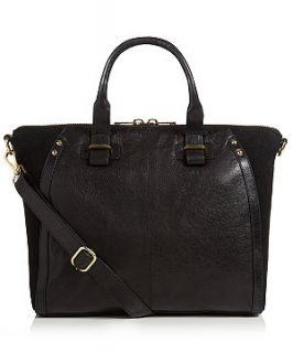 EST.1969 Black Real Leather Winged Tote Bag