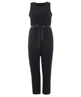 Koko Black Leather Look Trim Jumpsuit