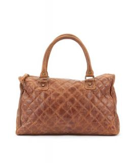Jocasi Brown Quilted Leather Bowler Bag