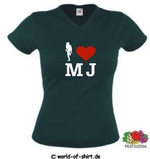 world of shirt Damen T Shirt I Love Michael Jackson Shirt Sport & Freizeit
