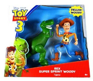 "Mattel Year 2009 Disney Pixar ""Toy Story 3"" Movie Series 2 Pack 7 Inch Tall Deluxe Action Figure   REX and SUPER SPRINT WOODY (V7114) Toys & Games"
