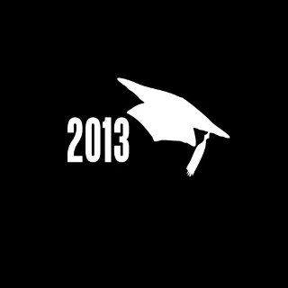 "2013 Graduation Cap Car Window Decal Sticker 4"" White Automotive"