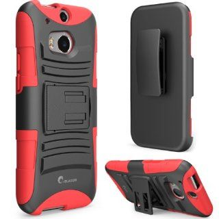 i Blason All New HTC One M8 Case   Prime Series Dual Layer Holster Cover with Kickstand and Locking Belt Swivel Clip For HTC One Case 2014 ( Red)  Electronics