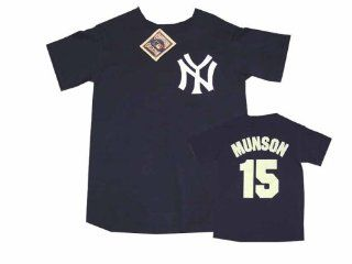 Thurman Munson 15 New York Yankees Navy Name and Number Adult T Shirt Sports & Outdoors