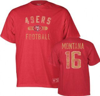 Joe Montana Reebok Vintage Name and Number San Francisco 49ers T Shirt Sports & Outdoors