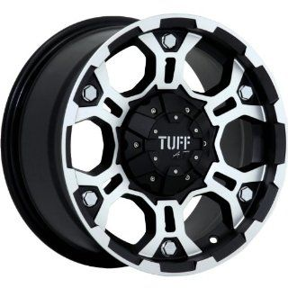 Tuff T03 15 Machined Black Wheel / Rim 5x4.5 & 5x5 with a  13mm Offset and a 78.1 Hub Bore. Partnumber T03DK5FJ13K78 Automotive