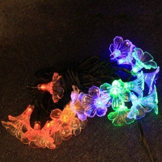 Fast shipping + Free tracking number , 20 LED Colorful Solar Fairy Light String 2 Mode Static & Flashing Flowers Shaped Power Saving 4 Color Night Lights Lamp Strings for Decoration Christmas Xmas New Year Wedding Party Festival Deco