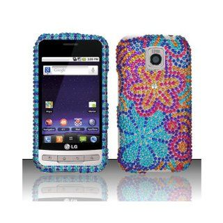 Purple Blue Flower Bling Gem Jeweled Crystal Cover Case for LG Optimus M MS690 C LW690 Cell Phones & Accessories