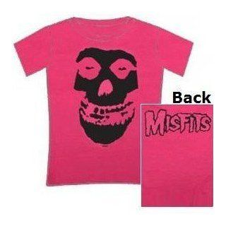 Misfits 'Black Skull' Women's / Juniors 2 sided fuschia lightweight t shirt ( Clothing