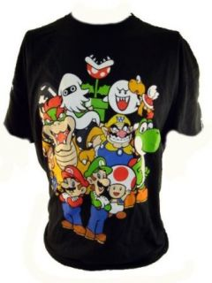 Super Mario Bros Mens T Shirt   Stars of the Video Game Series on Black (Luigi, Boser, Wario, Yoshi) (X Small) Clothing