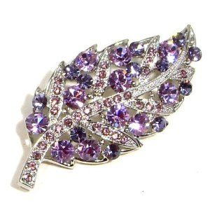 Clear and Purple Amethyst Austrian Rhinestone Leaf Silver Plated Brooch Pin Jewelry