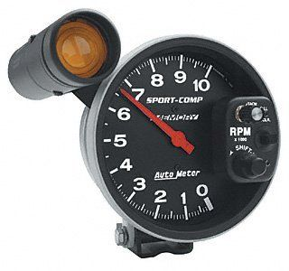 Auto Meter Sport Comp Monster Shift Lite Tachometers Tachometer, Sport Comp, 0 10,000 rpm, 5 in., Analog, Electrical, with Shift Light/ Memory, Each Automotive