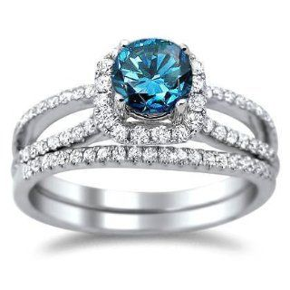1.45ct Blue Round Diamond Engagement Ring Wedding Set 18k White Gold Jewelry