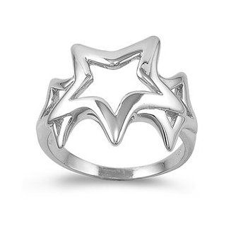 Sterling Silver 19mm Star Ring (Size 5   10) Jewelry