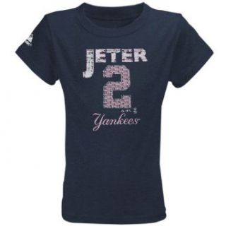 MLB Majestic Derek Jeter New York Yankees #2 Youth Girls Name & Number T Shirt   Navy Blue (7)  Novelty T Shirts  Clothing