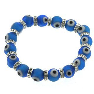 SET of 3 Sky Blue Glass Crystal CZ Evil Eye Good Luck Stretch Bracelets Jewelry