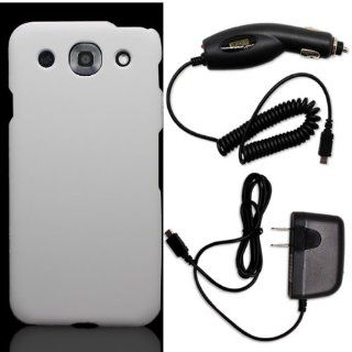 CoverON� LG Optimus G Pro Hard Rubberized Slim Case Cover Bundle with Black Micro USB Home Charger & Car Charger   White Cell Phones & Accessories