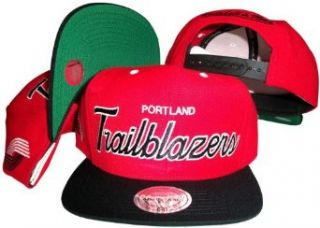 Portland Trailblazers Script Red/Black Two Tone Snapback Adjustable Plastic Snap Back Hat / Cap Clothing