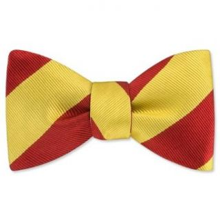 Burgundy and Gold Stripe Freestyle Bow Tie by Elite   Red Silk at  Men�s Clothing store