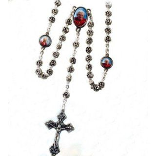"Pope Benedict & John Paul II Rosary   6mm Metal Rose Beads   18"" Total Length with Clasp Jewelry"