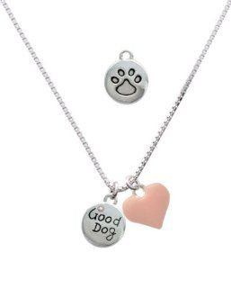 Good Dog with AB Crystal and Paw Print and Pink Heart Charm Necklace [Jewelry] Jewelry