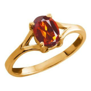 0.70 Ct Oval Orange Red Madeira Citrine 18k Yellow Gold Ring Jewelry