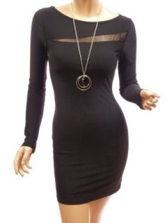 Patty Women Lace Split Boat Neck Long Sleeve Party Mini Dress (Black XL) Clothing