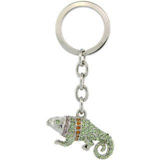 "Jeweled Iguana Key Chain, Key Ring, Key Holder, Key Tag , Key Fob, w/ Multi Color Swarovski Crystals, 3 1/2"" tall Jewelry"